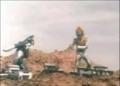 Zarizon battling Greenman in the city