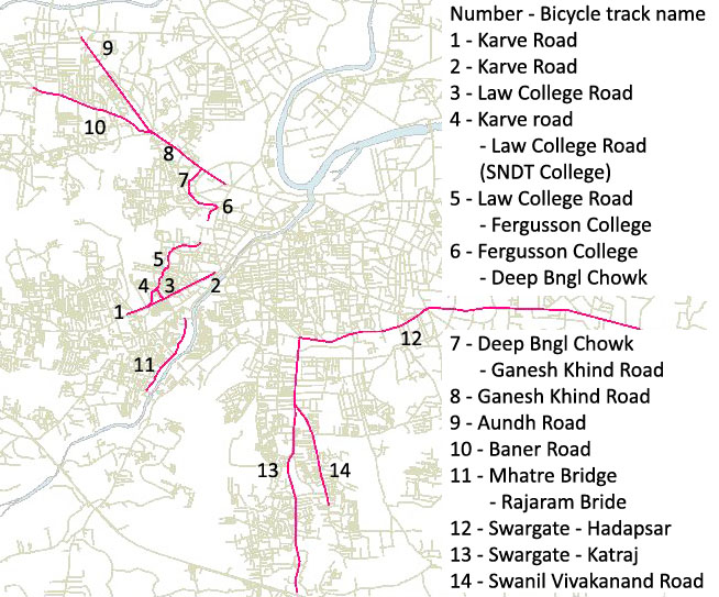 All bicycle tracks in Pune, India v0.5 (presentation)