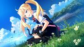 Blondes clouds cats blue eyes grass skirts rivers anime girls 1920x1080 wallpaper wallpaperswa.com 48