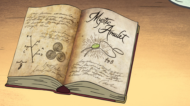 File:S1e4 gideon's amulet bookpage.png