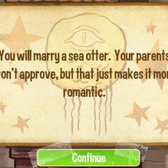 Вы женитесь на морской выдре. Ваши родители этого не одобрят, но это делает всё более романтичным.