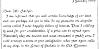A letter addressed to Roger Carlyle