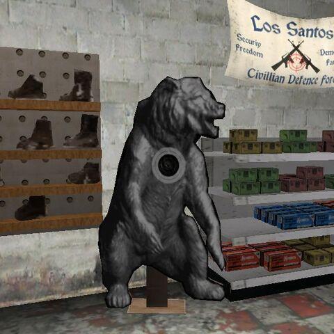 The dart board of bear in ammu-nation.