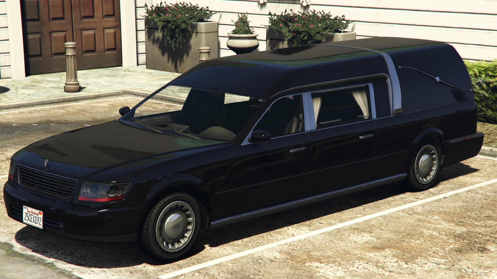 Image cj gtav transparent png gta wiki the grand theft auto wiki - The Romero Hearse In Grand Theft Auto V Rear Quarter View