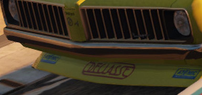 Stallion Stock Car GTAV 8thGen Declasse Decal Enlarged for the blind