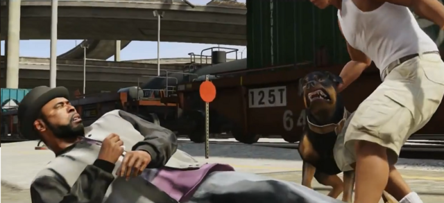 File:Chop trying to bite a Ballas member-GTAV.png