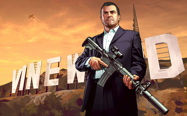 File:Michael with vinewood sign extended.jpg