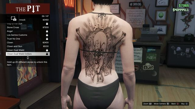 File:Tattoo GTAV-Online Female Torso Clown Dual Wield Dollars.jpg