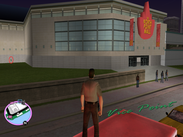 File:GTAVC HiddenPack 37 S. in N. outside pocket Vice Point Mall.png