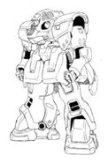 OZ-07MS Tragos Front View Lineart
