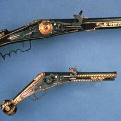 A wheellock pistol and rifle.