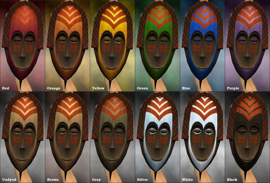 Tribal Shield (mask) dye chart
