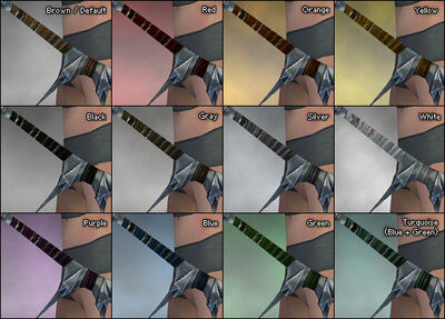 Spiked Recurve Bow dye chart