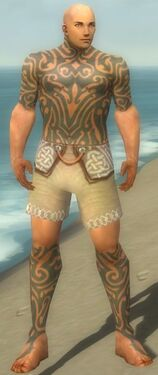 Monk Flowing Armor M gray chest feet front