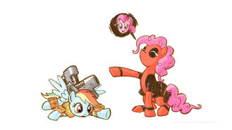 64540 - artist-giantmosquito cable deadpool Marvel parody pinkie pie rainbow dash