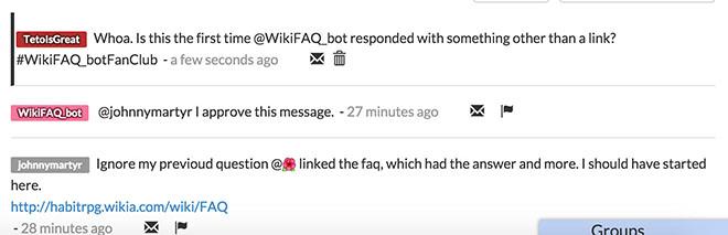WikiFAQ bot chats
