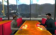Sarah and Nathan eating out