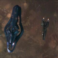 Größenvergleich zwischen einer Allianz Korvette und einer UNSC Fregatte (Hier: <i><a href=