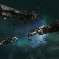 两架军刀战斗机飞过UNSC莎瓦纳号护卫舰。