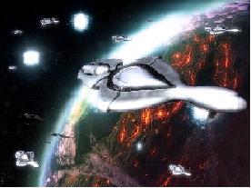 Sangheili bombing a planet