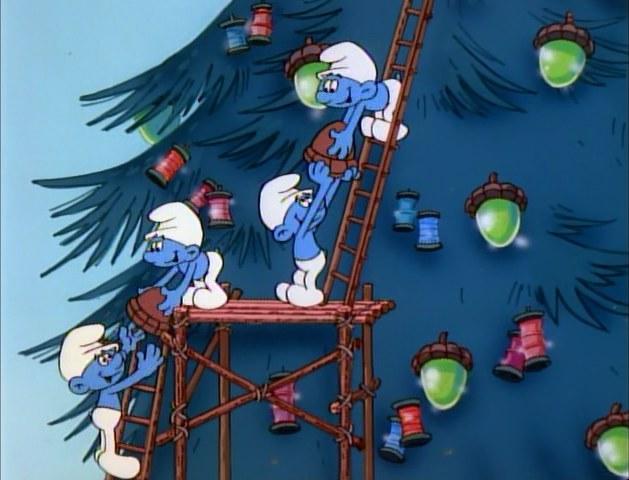 File:Smurfs decorating their tree.jpg