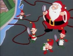 Santa and elves searching on the map