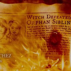 Witch defeated by orphaned siblings.
