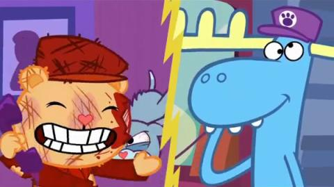 "Pop's scream from ""Doggone It"" reused in many Happy Tree Friends episodes."