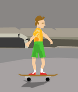 Irresponsible son on skateboard