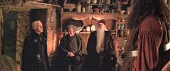 Hagrid's hut with visitors Malfoy Fudge Dumbledore