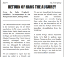 RETURN OF HANS THE AUGUREY