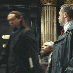 Толстоватый и Альберт Ранкорн (на самом деле Гарри Поттер в маскировке).