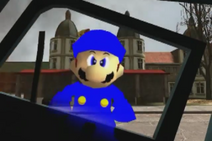 Cop after his police car gets run over by Wario and Waluigi's car