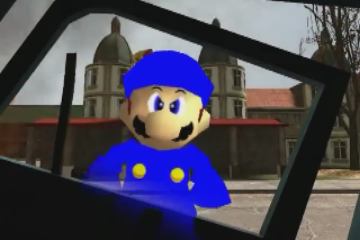 File:Cop after his police car gets run over by Wario and Waluigi's car.png