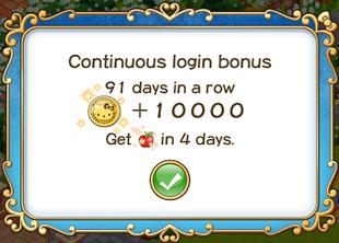 Login bonus day 91