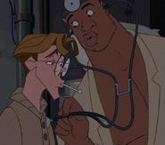 Dr. Sweet giving Milo a checkup