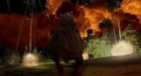 Aladar and the lemurs outrunning the meteor
