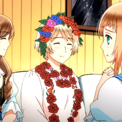 Hungary, Ukraine, and Liechtenstein have a friendly chat in Hetalia: The Beautiful World
