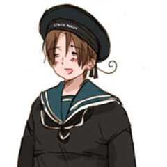 Italy in a black Italian sailor suit.