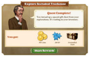 Quest Explore Secluded Treehouse-Rewards