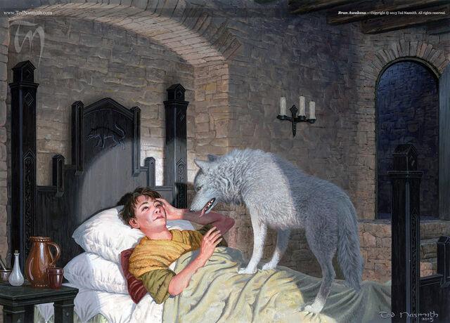 Archivo:Bran Awakens by Ted Nasmith©.jpg