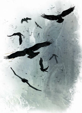 Archivo:Ravens bearing Aegon's proclamation to all corners of Westeros by Marc Simonetti©.jpg