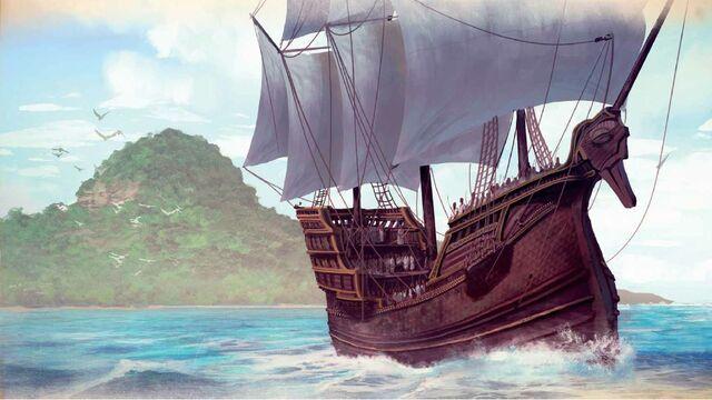 Archivo:A swan ship of the Summer Isles by Marc Simonetti©.jpg