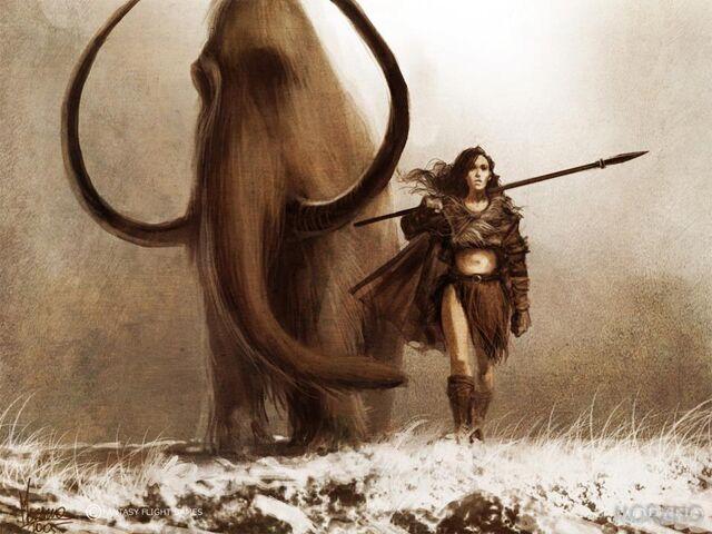 Archivo:Mamut y Mujer del acero by Tomasz Jedruzek, Fantasy Flight Games©.jpg