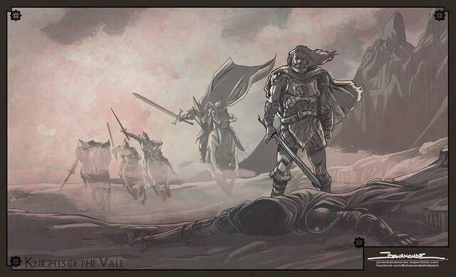 Archivo:Artys Arryn ataca a Robar II Royce by Javier Bahamonde, HBO©.jpg