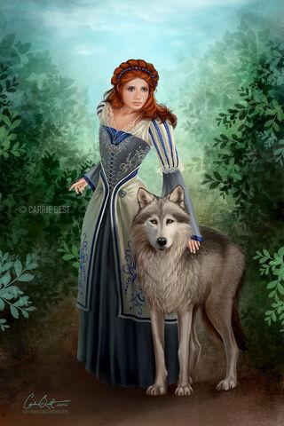 Archivo:Sansa y Dama por Carrie Best©.jpg