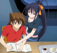 Akeno helping Issei with School Work