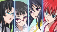 Tsubaki, Sona, Akeno and Rias playing tennis