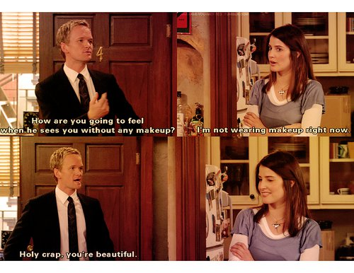 File:How I Met Your Mother - Cobie Smulders - Neil Patrick Harris - Complimenting - Having a conversation - Smile - Appreciating beauty - Surprised.jpg