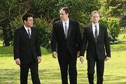 Ted and Barney with Marshall on his wedding